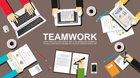 Teamwork illustration. Teamwork concept. Flat design illustration concepts for teamwork, team, meeting, business, finance, managem Stock Photos