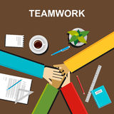 Teamwork illustration. Teamwork concept. Flat design illustration concepts for teamwork, team, meeting, business, finance, managem. Teamwork illustration Stock Photography