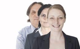 Teamwork im weißen Hintergrund Stockbild