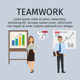 Teamwork infographic with business people Royalty Free Stock Photos