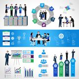Teamwork Infographic Set. With business people on conference meeting discussion symbols and charts vector illustration Stock Image