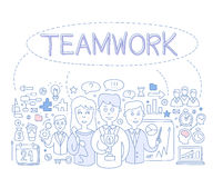 Teamwork Infographics Vector Illustration. Teamwork Infographics, Hand drawn Vector Illustration Design for the web site, first page Royalty Free Stock Photo