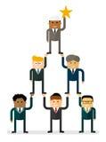 Teamwork international pyramid and star Royalty Free Stock Photos