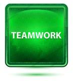 Teamwork Neon Light Green Square Button vector illustration