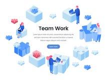 Teamwork isometrisk landa sida för lagbyggnad royaltyfri illustrationer
