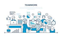 Teamwork kapacitetsutvärdering, analys av resultat, planläggning, kontroll, kontorsarbetsplats royaltyfri illustrationer