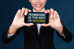 Teamwork is the Key to Success concept, Happy businesswoman Show royalty free stock images