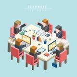 Teamwork-Konzept 3d isometrisches infographic Stockbilder