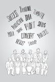 Teamwork-Konzept mit Modewörtern Stockfoto