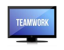 Teamwork-Kopie auf einem Flachbildschirm Stockbild