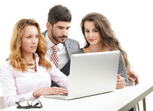 Teamwork with laptop Royalty Free Stock Photos