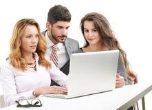 Teamwork with laptop Royalty Free Stock Photos