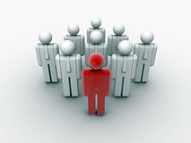 Teamwork and leader. People icons arranged in a teamwork with a leader - 3d render Stock Photography