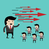 Teamwork with leader. cartoon  illustration for business design ,Business team led by the chief Royalty Free Stock Image