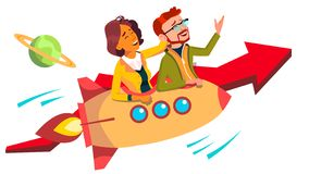Teamwork And Leader Vector. Team Of Female And Male Businessmen Riding Rocket And Flying Up Together. Illustration stock illustration