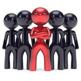 Teamwork leadership boss stylized red character leader icon Royalty Free Stock Image