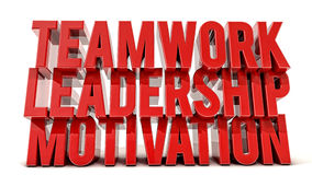 Teamwork, leadership and motivation 3d text Royalty Free Stock Image