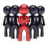 Teamwork leadership stylized red character black men team. Teamwork leadership stylized red character black men crowd businessman team leader individuality five Stock Photo