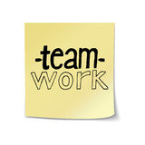Teamwork Lettering on Sticky Note Royalty Free Stock Photo