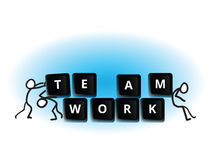 Teamwork line men concept. Line men working together building teamwork Stock Photography