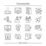Teamwork Linear Icons Set Royalty Free Stock Photos