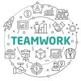Teamwork Linear illustration slide for the presentation. White Bg Linear illustration slide for the presentation Stock Photography