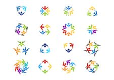 Teamwork, Logo, Sozialteamarbeitsbildung, Illustration, modern, Netz, gesetztes Vektordesign des Firmenzeichens Stockbilder