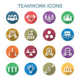 Teamwork long shadow icons Stock Images