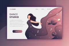 Dancing in space landing page stock illustration