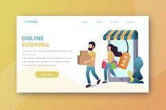 Online shopping landing page vector illustration