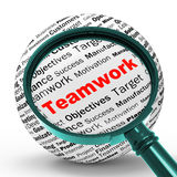 Teamwork Magnifier Definition Means Unity And Partnership Royalty Free Stock Photos