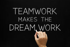 Teamwork Makes The Dream Work. Hand writing Teamwork Makes The Dream Work with white chalk on a blackboard Royalty Free Stock Photography
