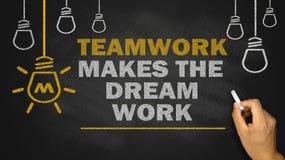 Teamwork makes the dream work. On blackboard Stock Image