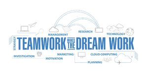 Teamwork makes the dream work diagram plan. Concept isolated over a white background royalty free illustration