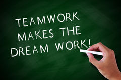 Teamwork Makes The Dream Work. Hand writing Teamwork Makes The Dream Work with white chalk on a chalkboard royalty free stock image