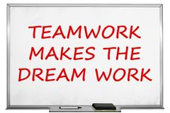 Teamwork makes the dream work, white board.  Royalty Free Stock Photos