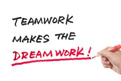 Teamwork makes the dreamwork. Words written on white board Royalty Free Stock Photography