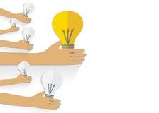 Teamwork management concept.  Hand keep bulb. Vector background. Stock Image