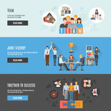 Teamwork management flat interactive  horizontal Royalty Free Stock Photography