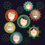 Teamwork mechanism, People Business Composition -. Teamwork mechanism, People Business Composition, Social Media Gears, Successful Team, Network Illustration Stock Image