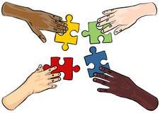 Teamwork med färgrika pusselstycken Arkivbild