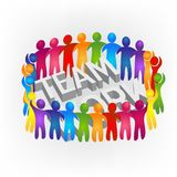 Teamwork meeting colorful people around text logo vector illustration design id card image. Teamwork colorful people around text logo vector illustration design Stock Photos