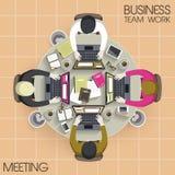 Teamwork meeting in flat design. Top view of business teamwork meeting in flat design Royalty Free Stock Photos