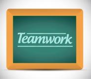 Teamwork message written on a chalkboard Stock Photos