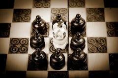 Teamwork mit dem Schachpfand, das gegenüberliegenden König schachmatt setzt, Sepiaversion, Stockfoto