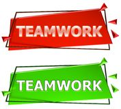 Teamwork sign. Teamwork modern 3d sign isolated on white background,color red and green Royalty Free Stock Photography