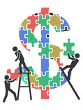 Teamwork money sign Jigsaw puzzle. The concept background of teamwork working on money sign Jigsaw puzzle Stock Photography