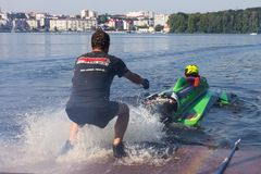 Teamwork on motorboat competitions. Ternopil, Ukraine - 25-26 August 2018: UIM World Championship 2018 Ternopil Hydro GP. Water motor sport. Formula-1 on the royalty free stock photos