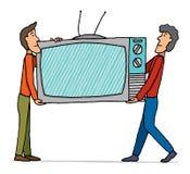 Teamwork / Moving huge tv set Royalty Free Stock Image