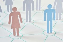 Teamwork and network concept - man and woman working together. As a team Stock Image